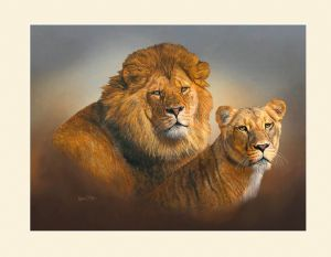 Original Lion & Lioness Head Study Painting by Robert J. May